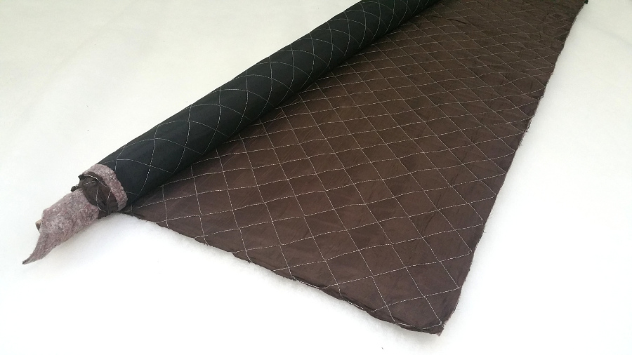 Upholstery black and brown quilting